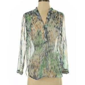 Anthropology Zoa Sheer Multi-Color Blouse Small